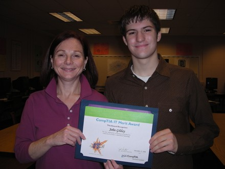 CompTIA award with Mrs. G